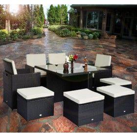 Muebles de jardin 21 piezas ratan y aluminio y cojines for Muebles de aluminio para jardin