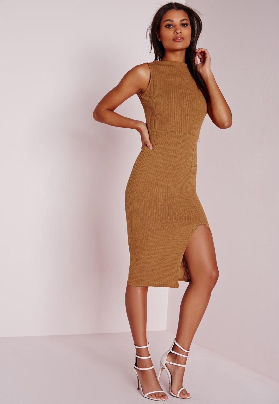 Missguided Sleeveless Ribbed Midi Dress Tan Ribbed Midi Dress Fashion Dresses Fashion [ 1680 x 1160 Pixel ]