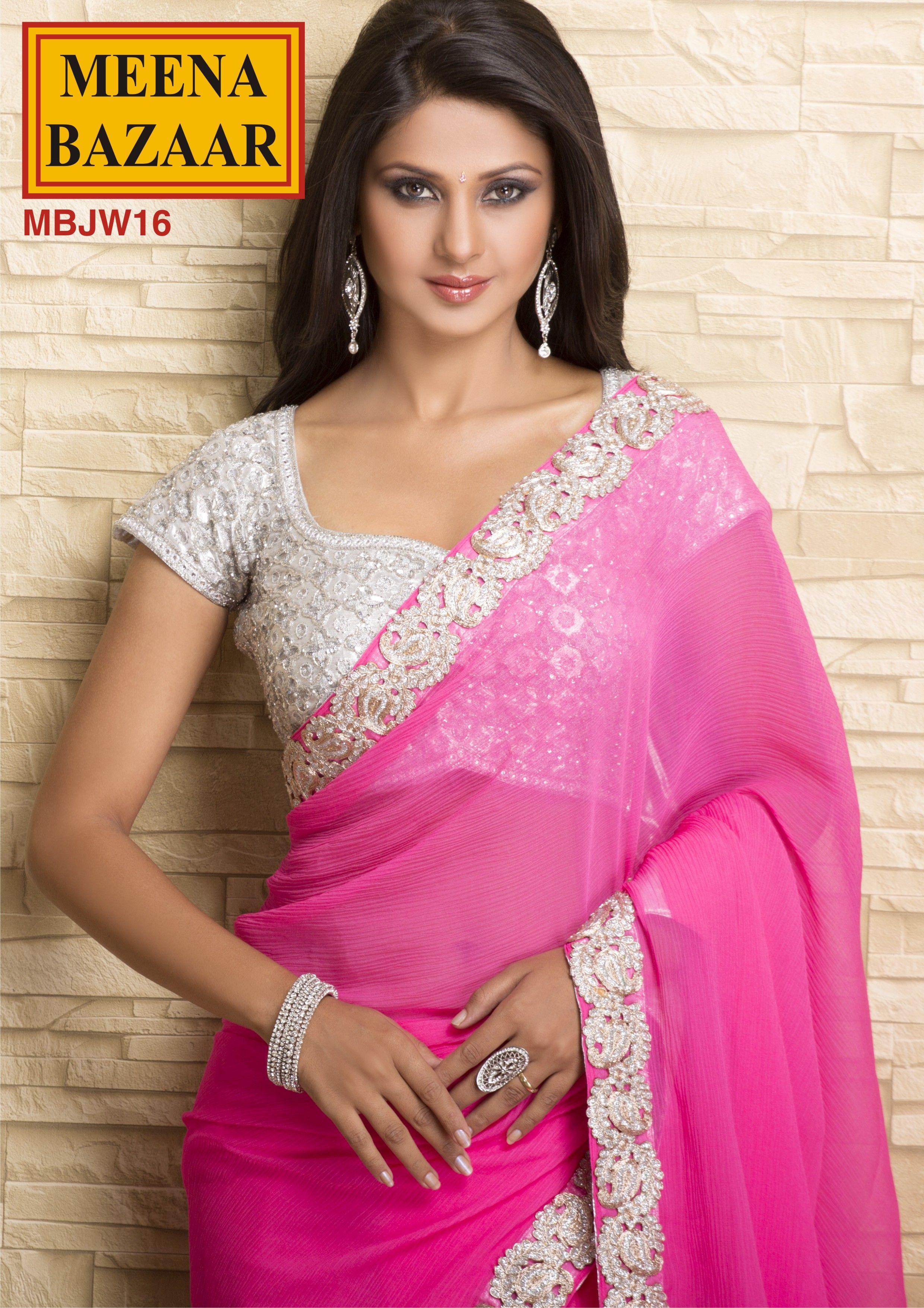 MBJW16 Border Patch Saree on Chiffon Fabric   money gone   Pinterest