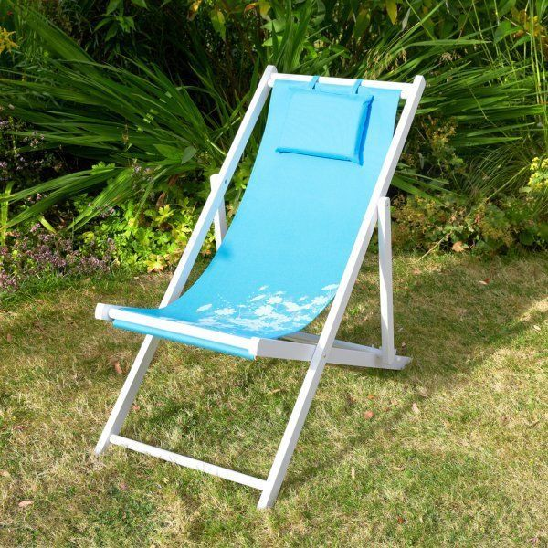 Traditional Folding Wooden Deck Chair Blue Wildflower
