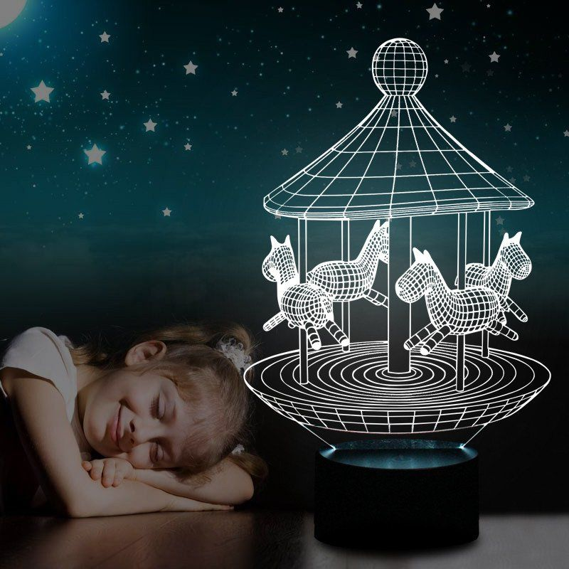 Merry Go Round Night Lamp 3d Led Goamiroo Store Led Lamp Design 3d Led Lamp 3d Illusion Lamp
