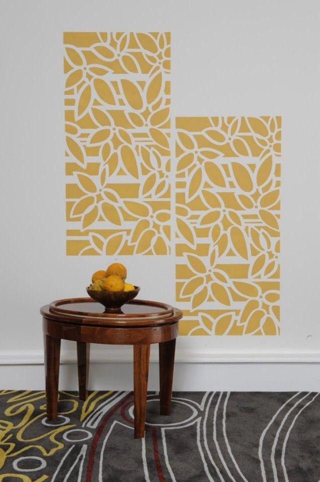 peinture-décorative-murale-pochoir-fleurs-orange.jpg (640×963 ...