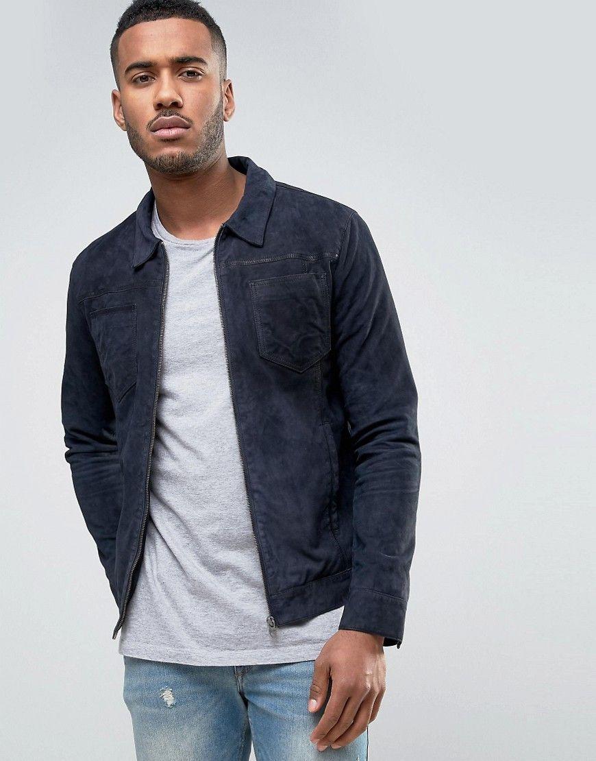 Jack Jones Vintage Suede Jacket With Patch Pockets Blue Men S