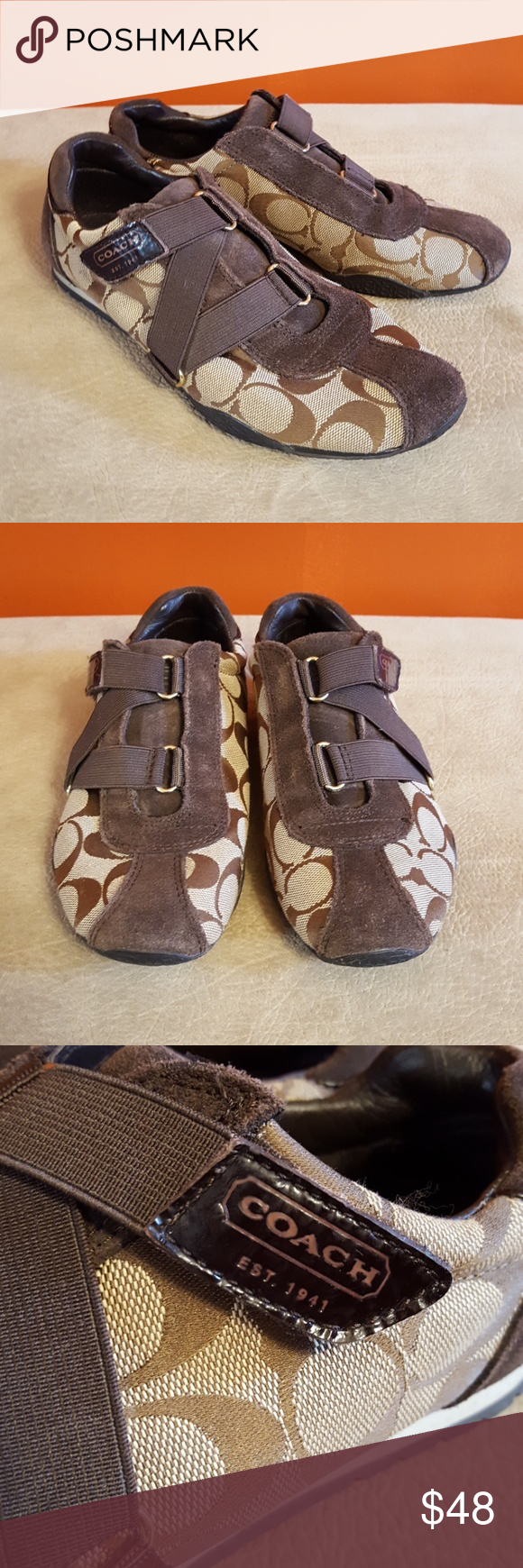39cc571b9c74 Coach Kyrie Signature Sneakers Velcro strap closure. Coach signature  printed pattern on canvas material  suede trimmings  gold hardware.