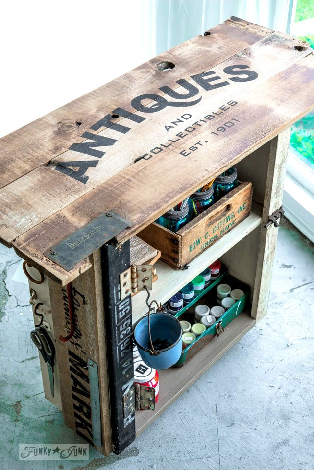 Rustic paint cart with Fusion and Old Sign Stencils | Pinturas ...