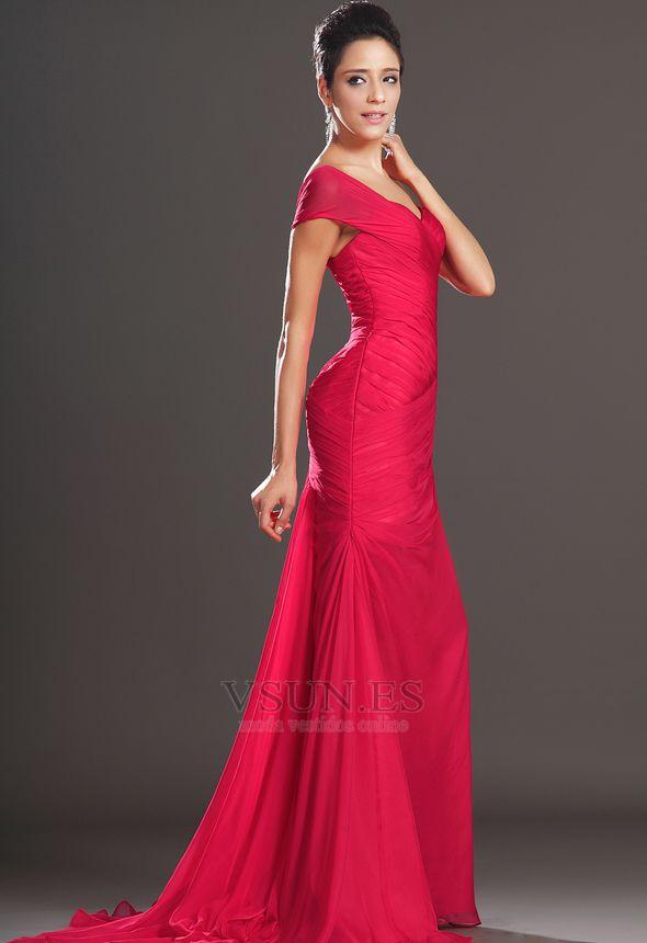 25ab54df0 Vestido de noche rojos cereza Gasa Delgado largo Escote Asimètrico ...