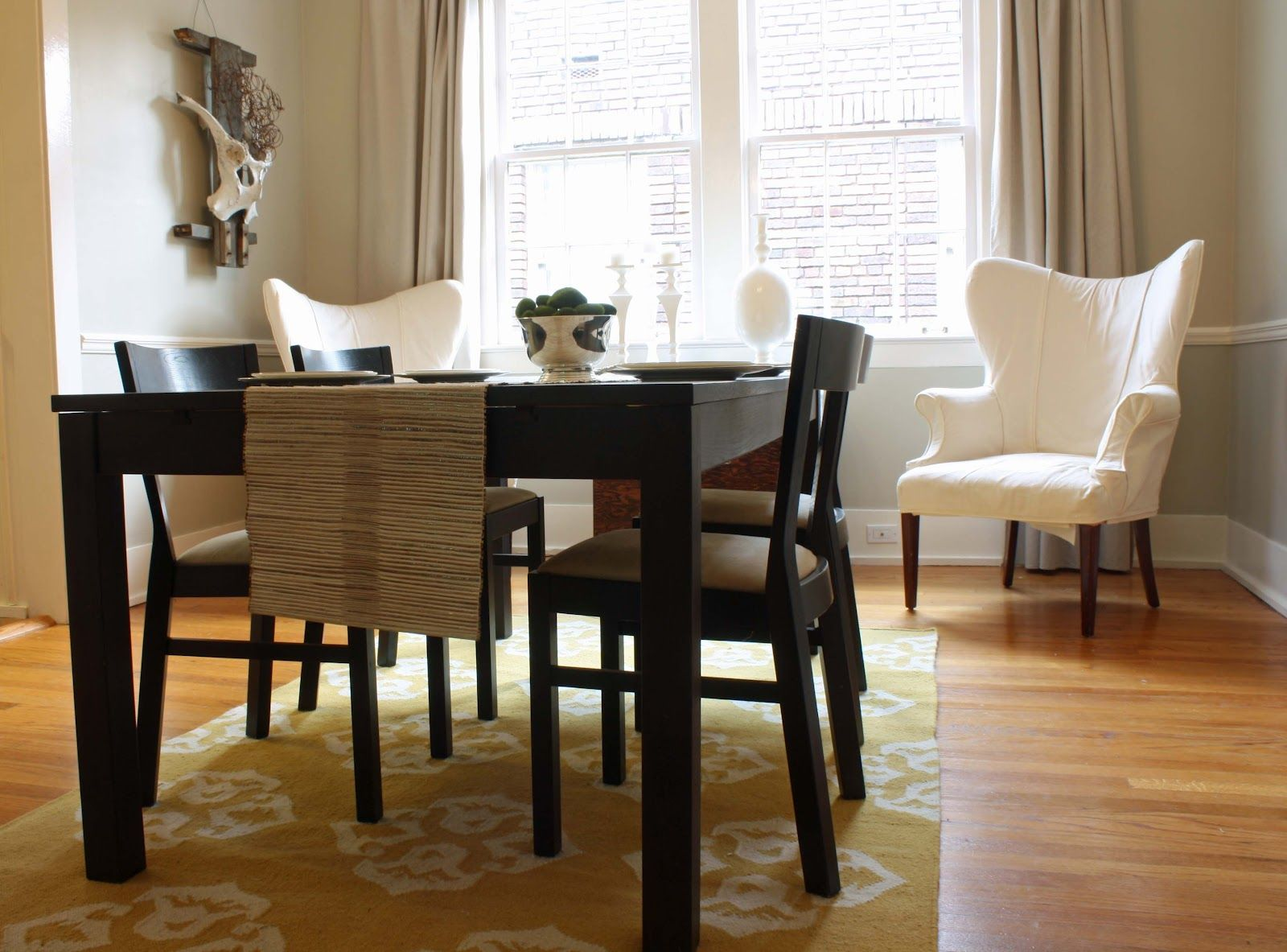 Dining Room: Blue Dining Room Rug On Brown Laminate Flooring Added With  White Table Set And Chandelier: