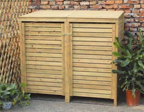 Wooden Outdoor Double Wheelie Bin Cover Storage Cupboard Ebay