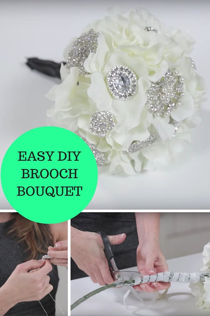 Make your own wedding brooch bouquet with our super simple and easy ...