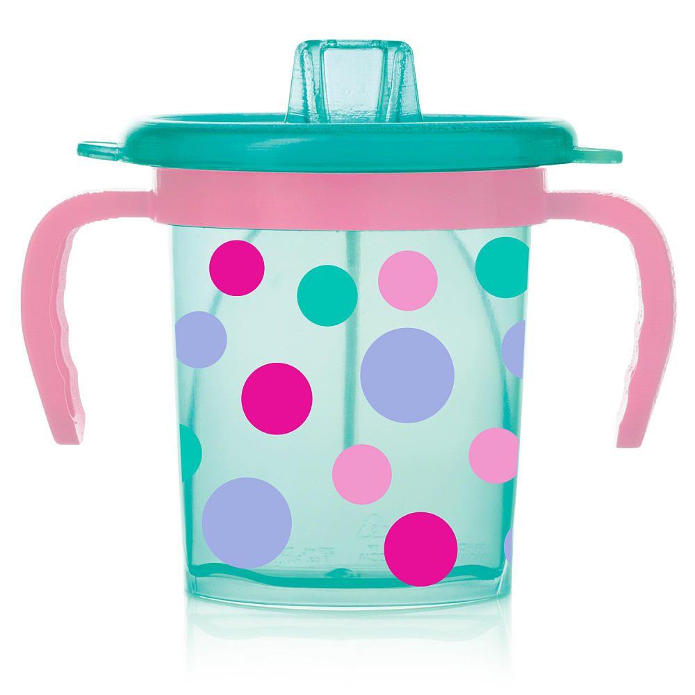 Evenflo Feeding Tilty Tripleflo Trainer Cup Teal Pink Polka Dot Evenflo Feeding Babies R Us Toddler Sippy Cups Feeding Kids Baby Sippy Cup
