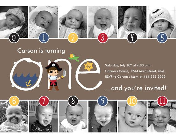 Pirate Timeline First Birthday Invitation by HelloBabyInvitations - construction timeline