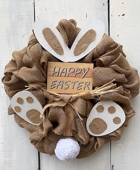 Photo of EASTER FRONT DOOR Wreath ~ Free Shipping ~ Easter Bunny Rabbit Door Wreath, Burlap Door Wreath, Spring Wreath for Front Door Wreath ~ New !!