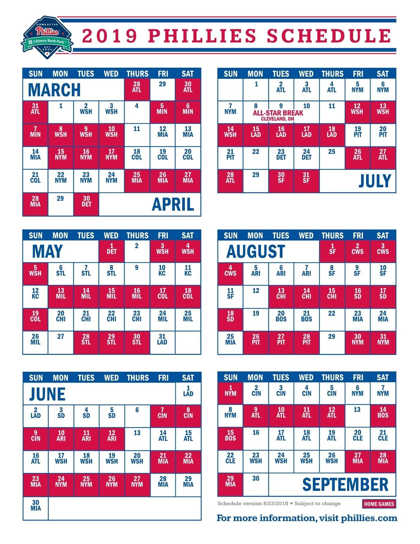 Phillies To Open 2019 Schedule Against The Braves Catch Phillies Schedule Phillies Mlb Baseball Teams
