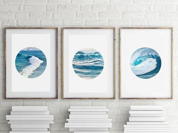 Bathroom Art Set of 3 Prints Ocean Print Nautical Decor, Bathroom