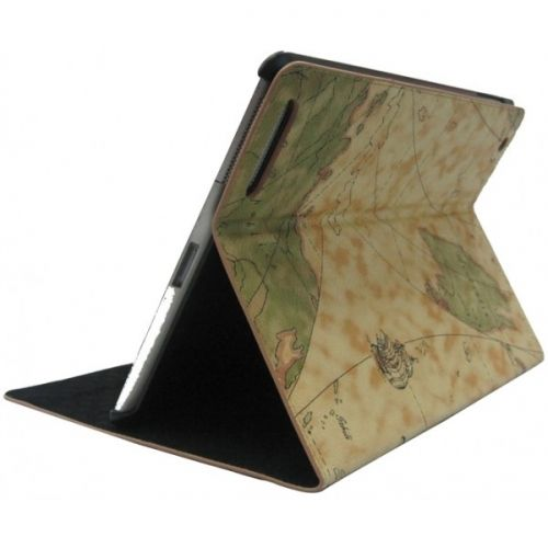 for iPad 3/New iPad Leahter Case Sailing Map  with Stand - Green US$21.89