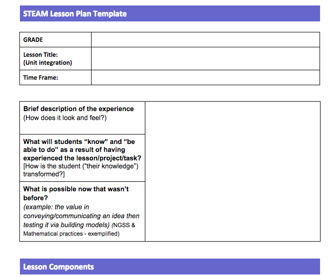 Steam Lesson Plan Template  Steam  Steam Science And Art