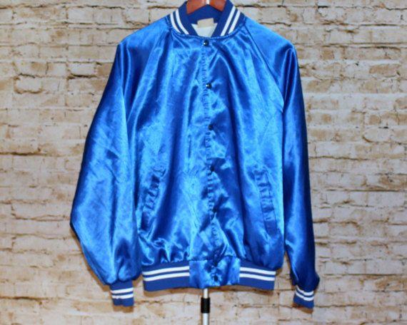 True Vintage 80s 90s Auburn Sportswear Men Royal Blue Satin Baseball Bomber Jacket Coat Satin Bomber Jacket Mens Royal Blue Bomber Jacket Blue Bomber Jacket