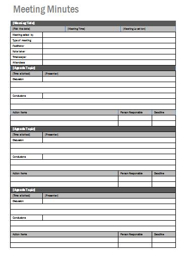 agenda meeting minutes template