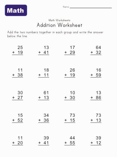 addition worksheet 3 | print out | Math worksheets, Math, Worksheets