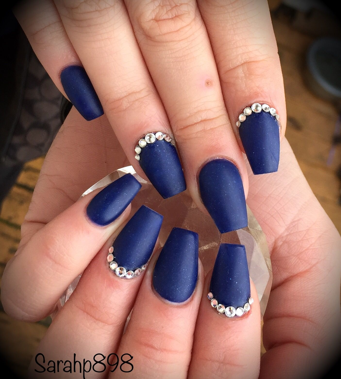 Dark blue matte coffin nails in 2019