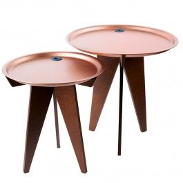 two side tables with a copper tray. Part of the Trayble collection