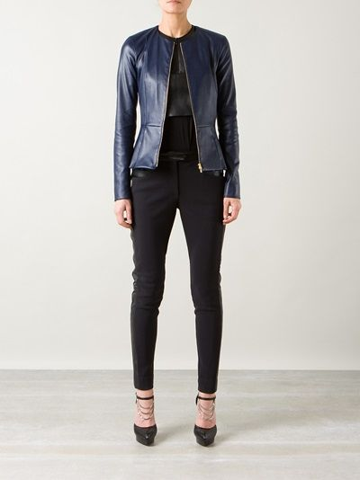 THE ROW navy leather fitted jacket 11