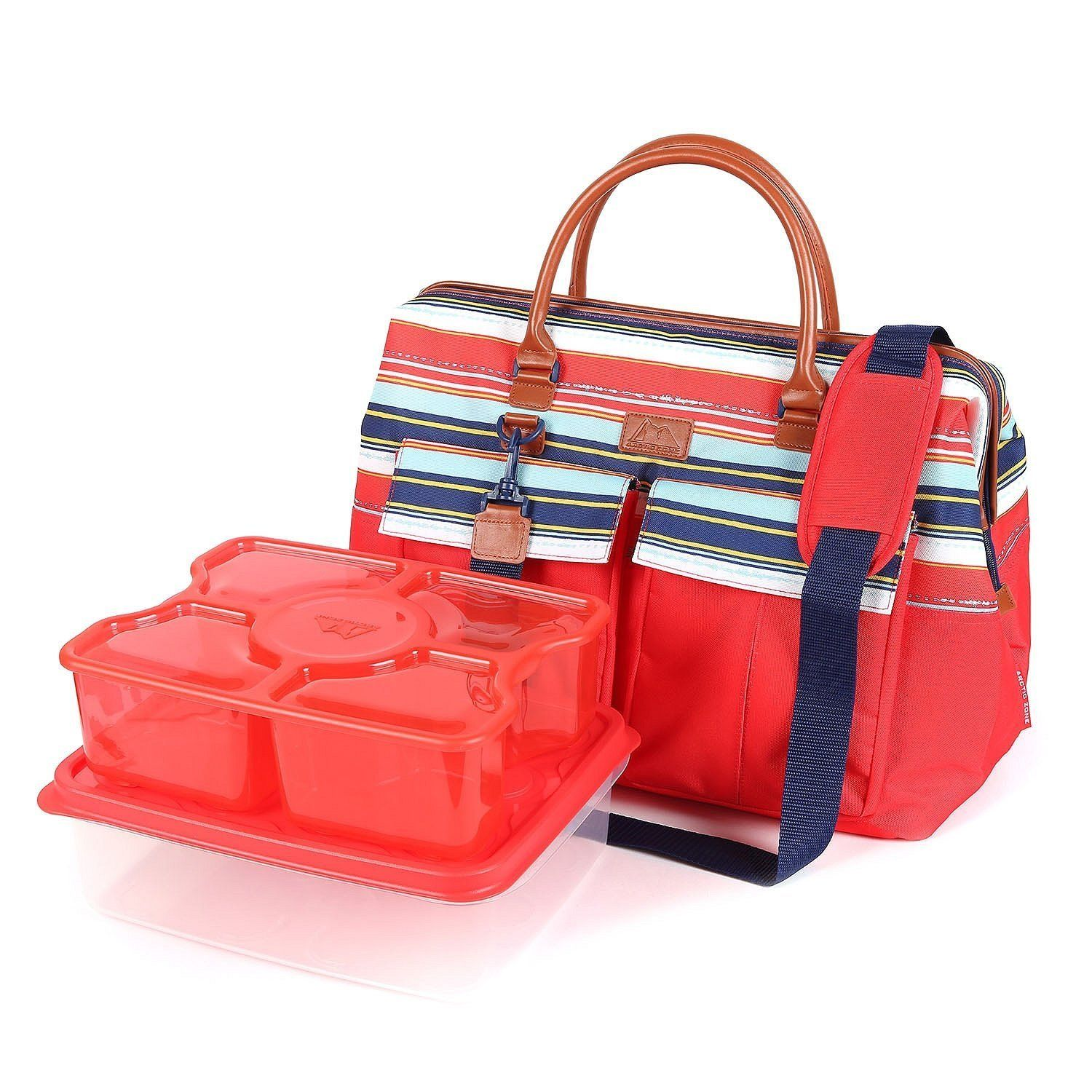 Arctic Zone 7 Piece Set Insulated Carrier W Interlockers Food Container Set Picnic Tote Food Container Set Storage Gift