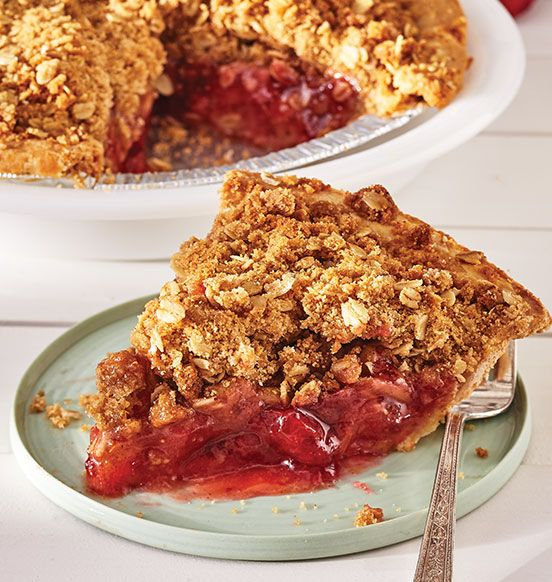 Strawberry Rhubarb Crumble Pie - Strawberries and rhubarb, with a hint of citrus, in a flaky p