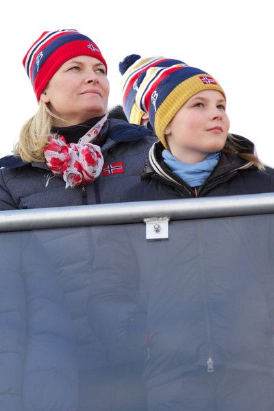 Crown Princess Mette-Marit of Norway and Princess Ingrid Alexandra of Norway attend the FIS Nordic World Ski Championships on February 28, 2015 in Falun, Sweden.