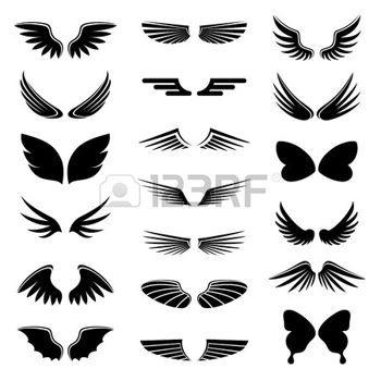 Aile d ange dessin vector set ange et d 39 oiseaux ailes - Ailes d ange dessin ...