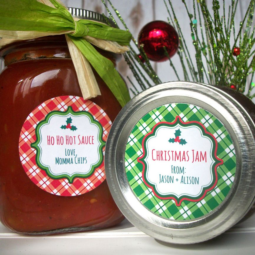 Custom Plaid Red Green Christmas Canning Labels Canning Jar Labels Holiday Mason Jar Christmas Canning Labels