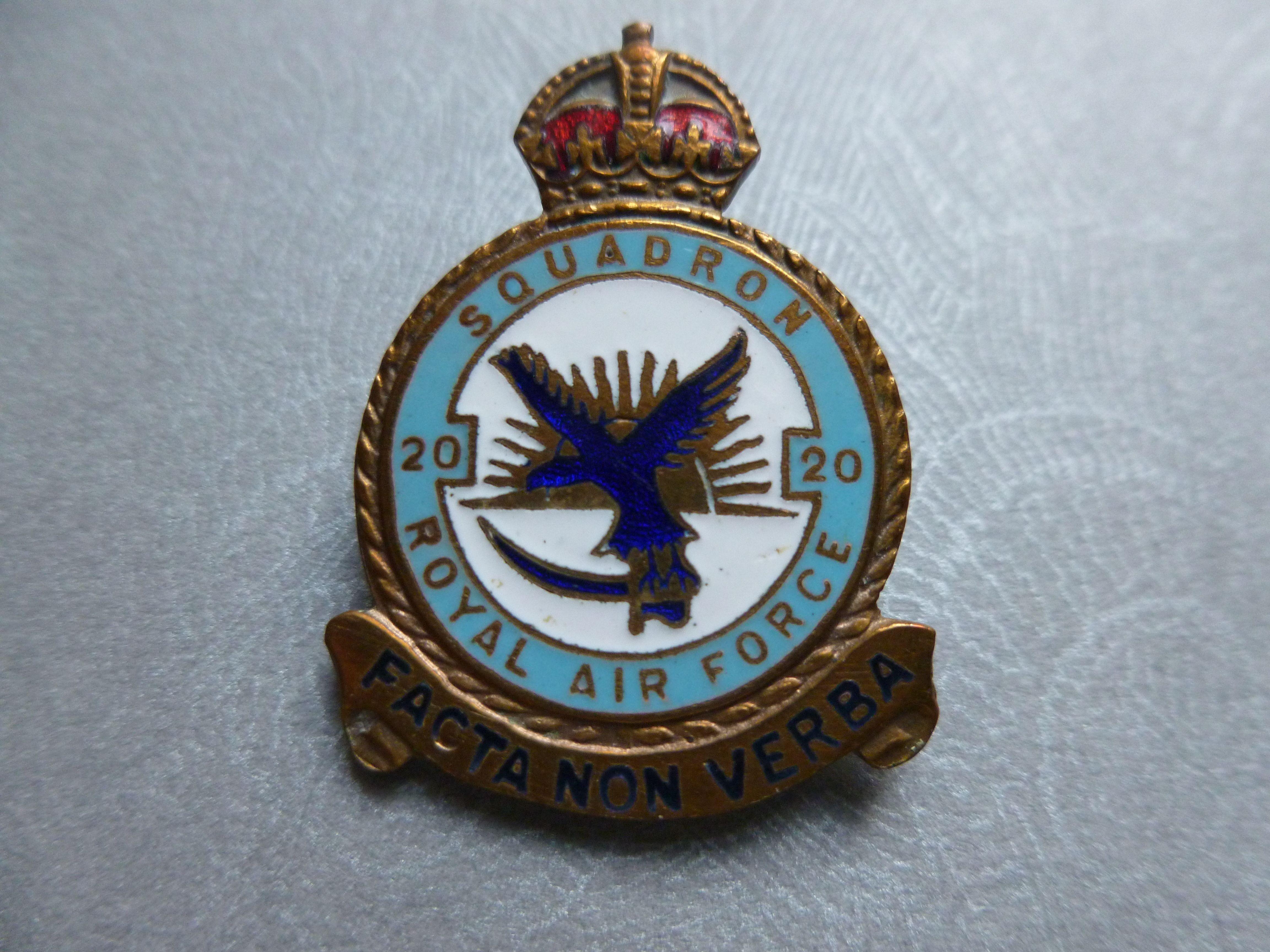 RAF 20 20 Squadron Vintage enamel and gilt badge Air