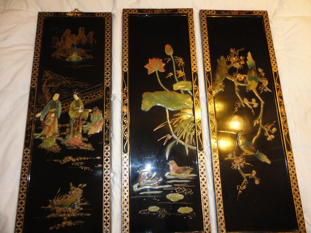 Lot 3 Oriental Asian Art Panels Mother Of Pearl Shell Pictures Ebay