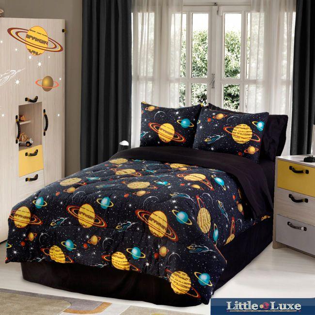 Kids Bedding Boys Twin Galaxy Glow In The Dark 3 Piece Twin Size