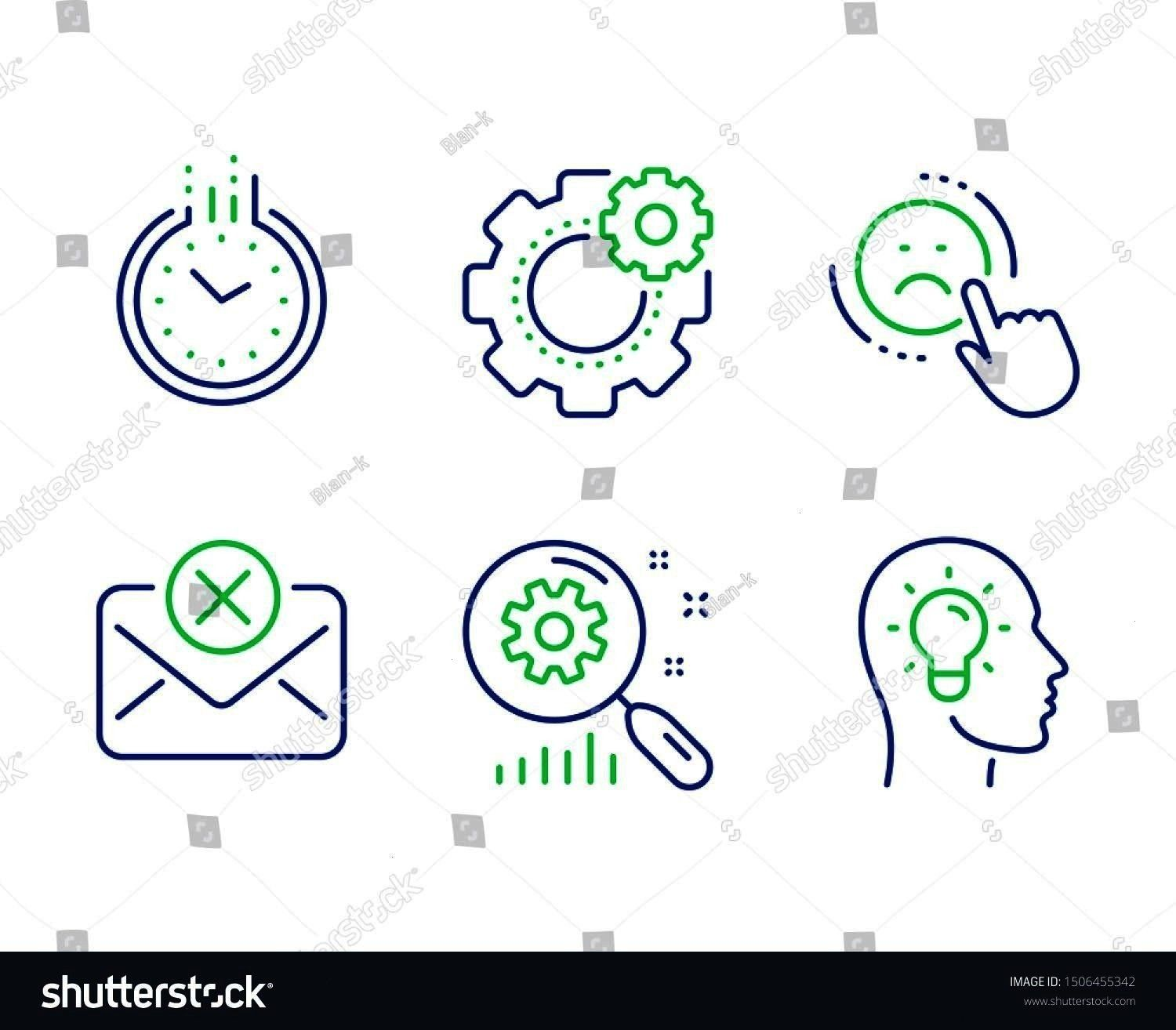 Search statistics line icons set Cogwheel Reject mail and Idea head signs Negative feedback Clock Analysis Engineering tool Technology set Line dislike outline icons Vect...