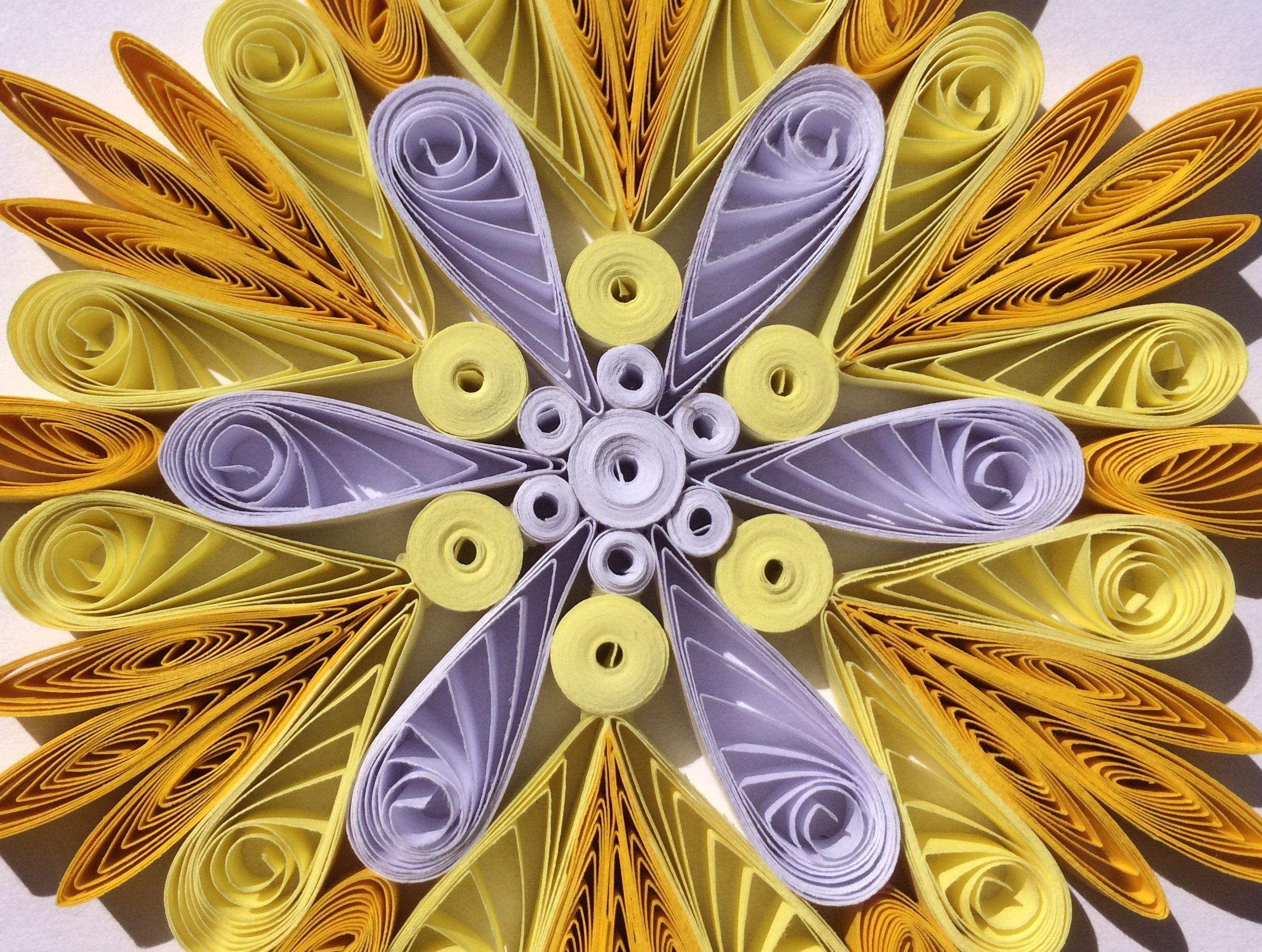 Snowflake Yellow White, Quilled Handmade Art, Paper Quilling, Home Decoration