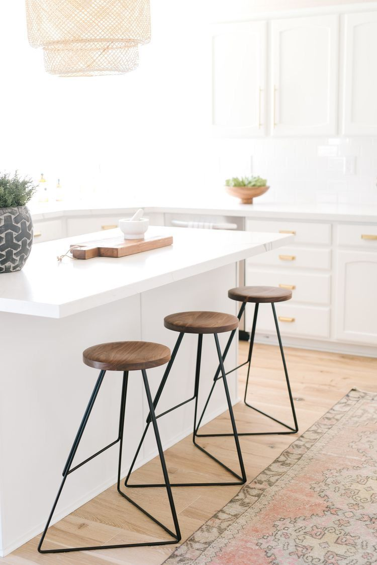 White With Brass Hardware Band Industrial Modern Stools Cheap Kitchen Remodel Kitchen Remodel Layout Simple Kitchen Remodel