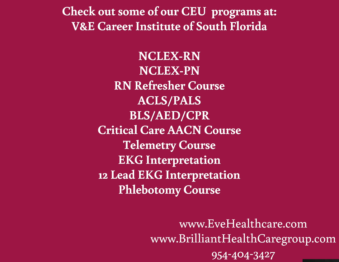 Check Out Some Of Our Ceu Programs At Ve Career Institute Of South