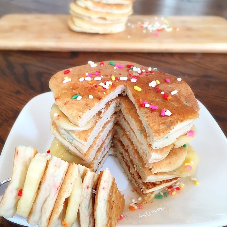 Confetti pancakes paleowhole30 pinterest confetti pancakes confetti protein pancakes these fluffy grain free pancakes totally resemble our favorite confetti childhood treat except these are easily a quarter of ccuart Gallery