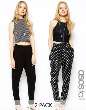 ASOS TALL Two Pack Peg in Plain and Spot Print