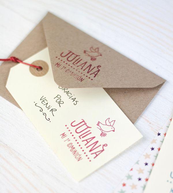 C mo usar tu sello para hacer la comuni n de tu peque m s - Como hacer tarjetas de comunion ...