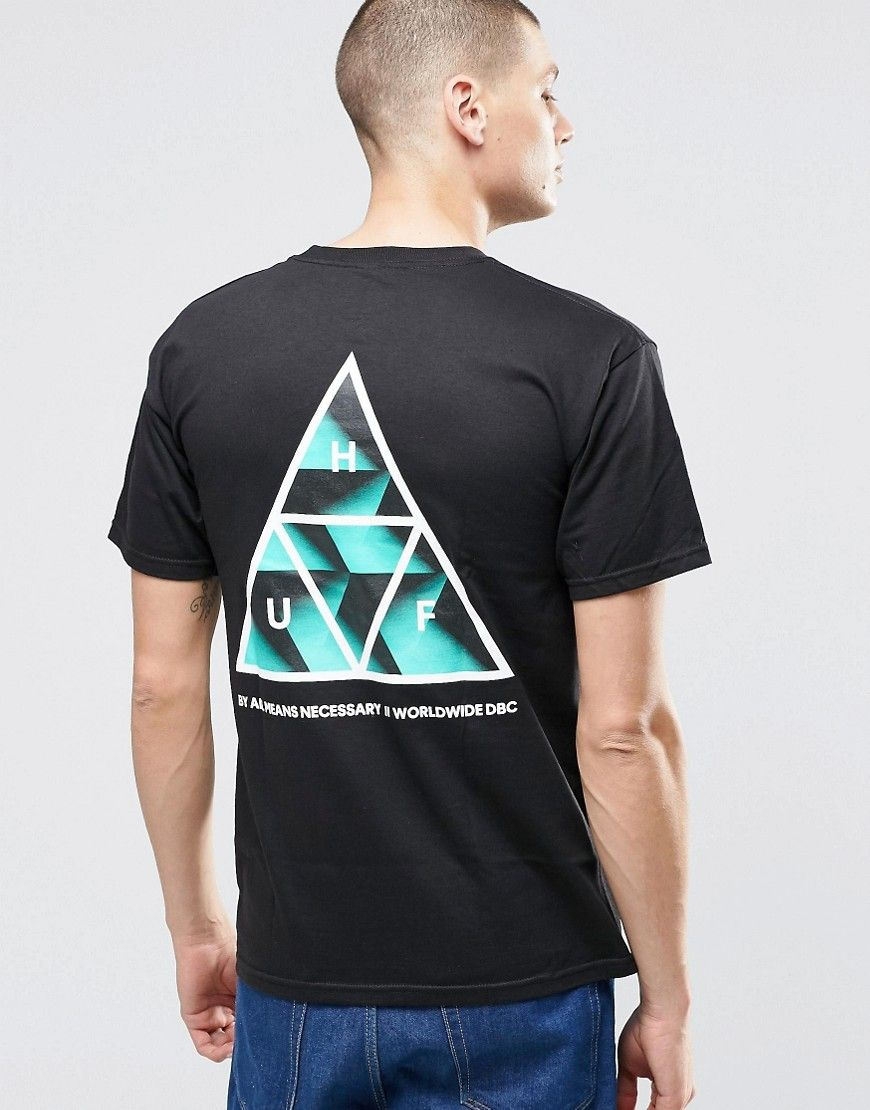 Image 1 of HUF T-Shirt With Retro Triple Triangle Back Print