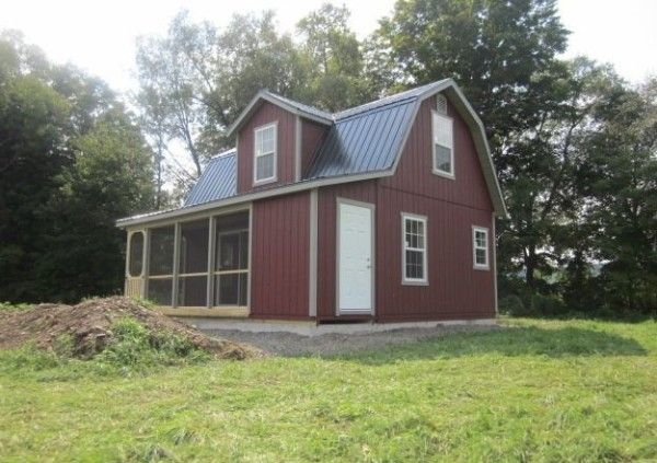 18x24 Two Story Dutch Cabin Shell With 6 Porch