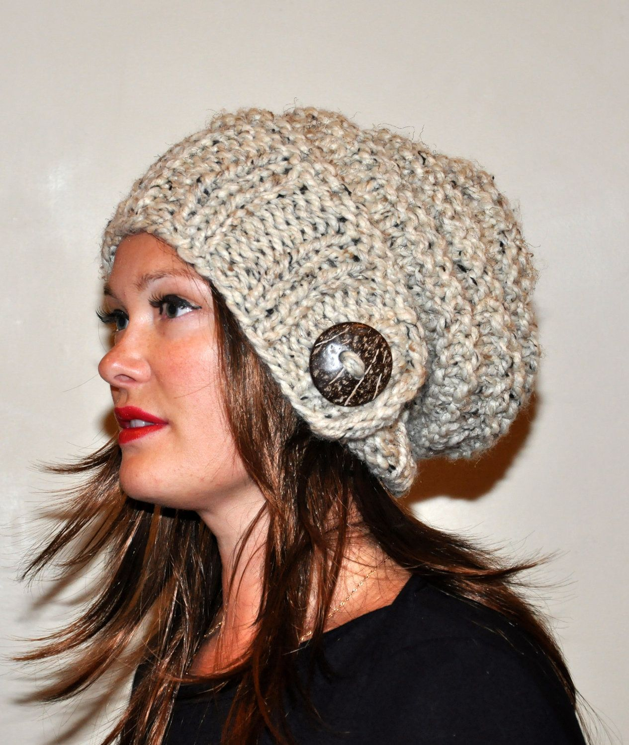 slouch hat slouchy beanie 100% wool button hand knit winter adult