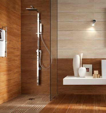 20 banheiros decorados com porcelanato que imita madeira banheiro
