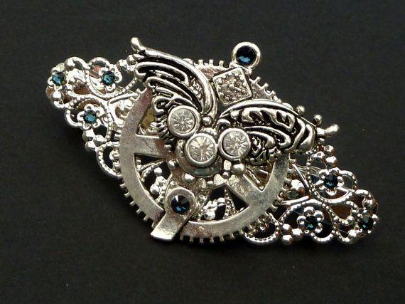 Steampunk Haarspange mit Flügel und Zahnrad silber von Schmucktruhe