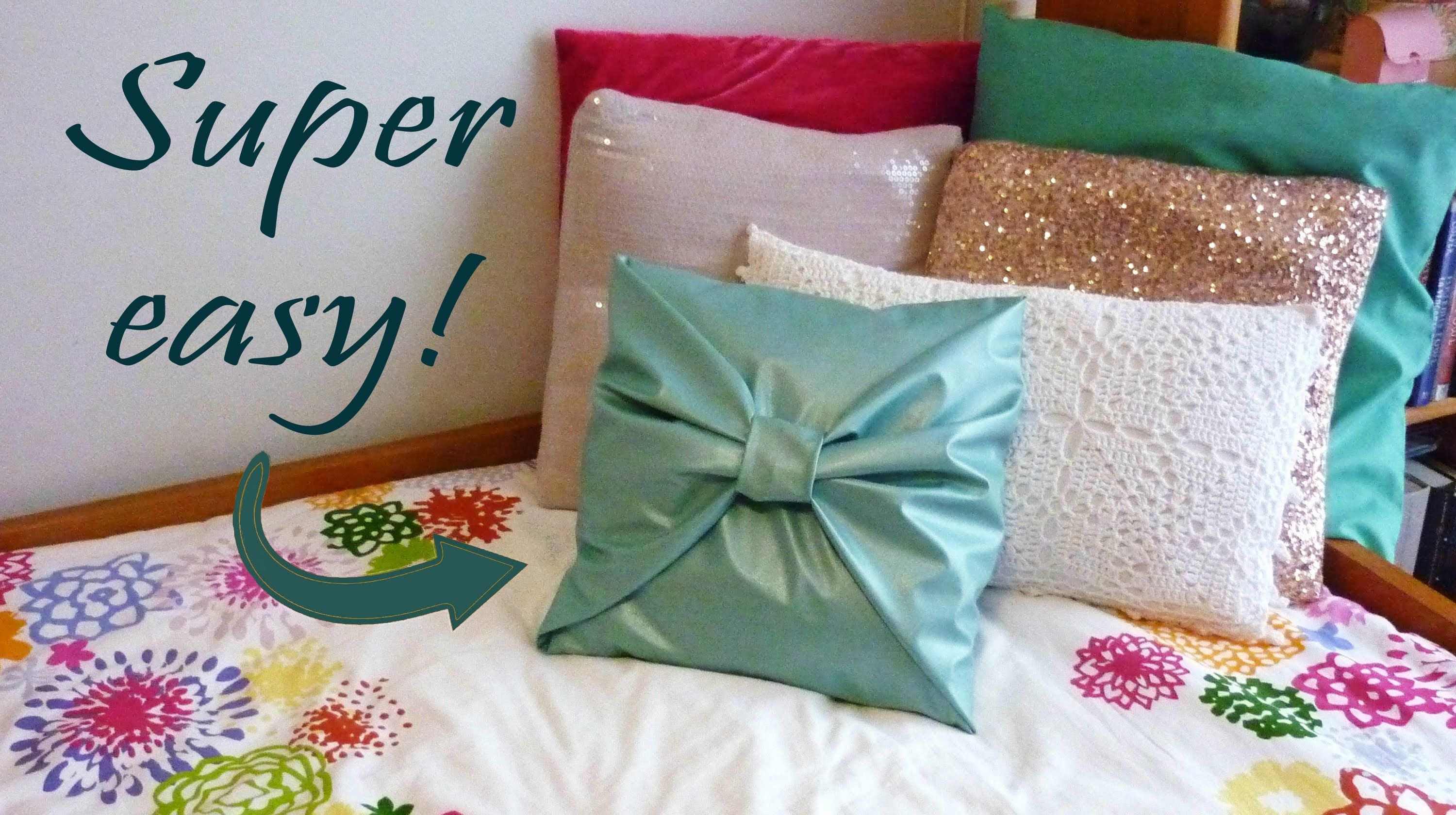 DIY room decor - No-sew bow pillow cover Bedroom and Living Room Ideas Pinterest Bow ...