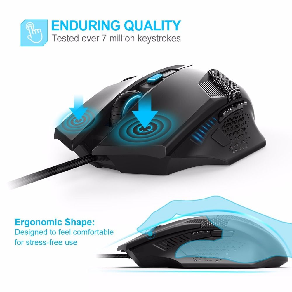 656b5712fd1 TeckNet Raptor Gaming Mouse 2000 DPI 6 Button Extra Weight Optical Computer  Mouse E-Sports USB PC Mouse For Computer Laptop looks fine in design, ...