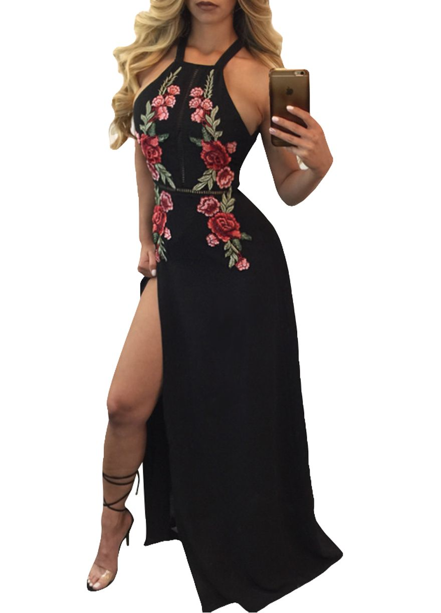 a84a7af6f84 Floral Embroidery Black Halter High Split Maxi Dress Maxi  Dress Dresses Sexy Lingeire