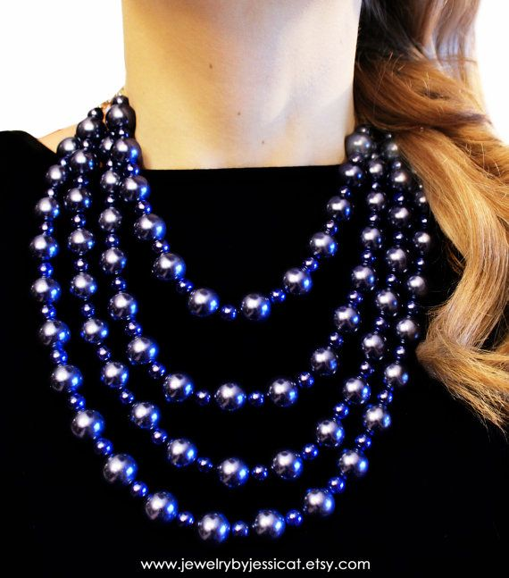 Dusky blue is THE color for spring... ;-)     CLASSIC Statement Necklace Blue Dusk Navy by JewelryByJessicaT,